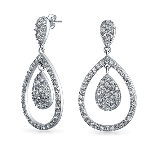 8b6c2df8c037 Image Unavailable. Image not available for. Color  Cubic Zirconia CZ Open  Teardrop Micro Pave Dangle Drop Earrings ...