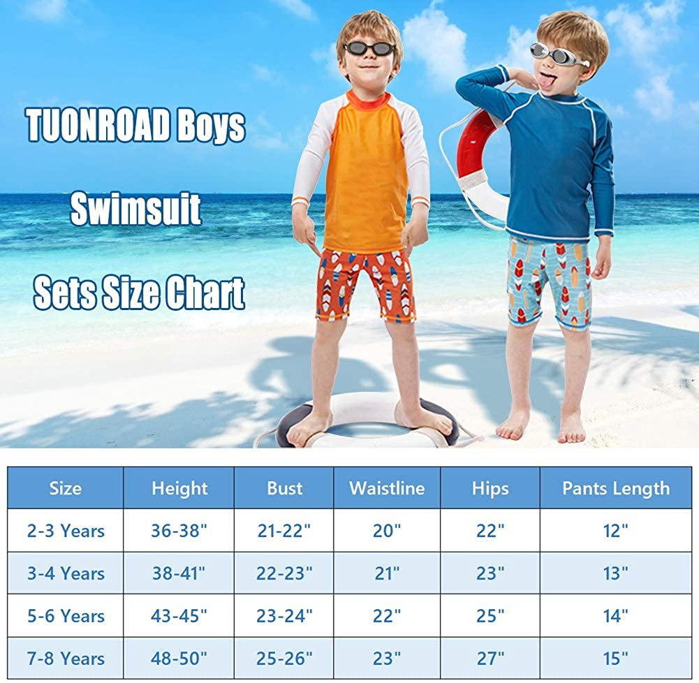 Vintage Swimwear Bathing Suits with Cap Vibrant Color Orange Turquoise Rash Guard Swimsuits Elastic Waistband Swim Shorts Top Cap Sets for 5t 6t Years Old Junior Little Boys Indoor Pool Water Park