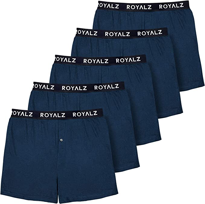 ROYALZ Pack de 5 Calzoncillos bóxer largos para hombre, estilo americano, calzoncillos cómodos, clásicos, 100% algodón, suave, locker 5 unidades: Amazon.es: Ropa y accesorios