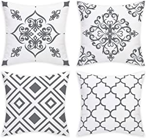 Yastouay Decorative Throw Pillow Covers Grey and White Vintage Pillow Covers Set of 4 Modern Geometric Pillow Cases Home Decor Cushion Covers for Sofa Couch Bed, 18 x 18 Inch