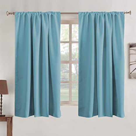 Draperies Curtains Room Darkening Window Treatments Back Tab Rod Pocket Blackout Curtain Panels Energy Efficient Thermal Insulated Window Curtain 2 Panels For Bedroom 52 X 63 Inch Kitchen Dining