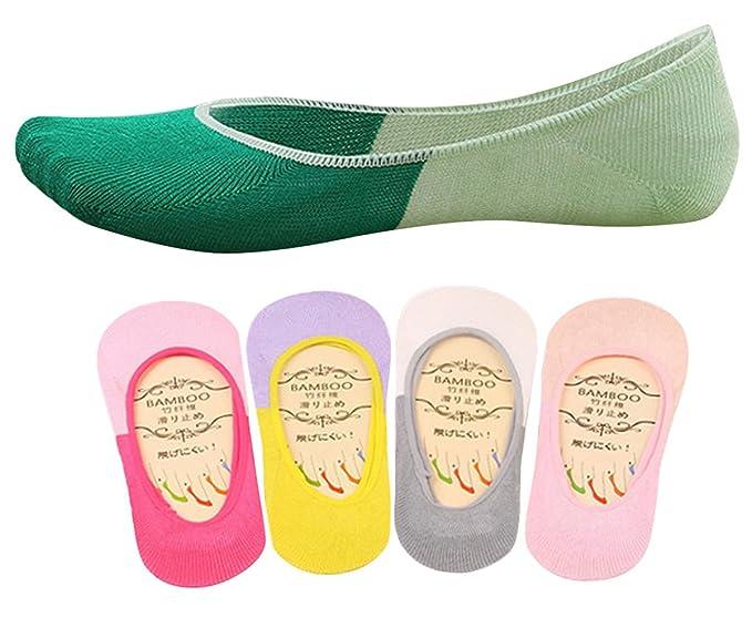 Panegy - (Pack de 5 pares) Calcetines Invisibles medios Calcetines bajos Fantasía de Algodón Antideslizantes para Mujer para Deportes Yoga Ciclismo - 01: ...