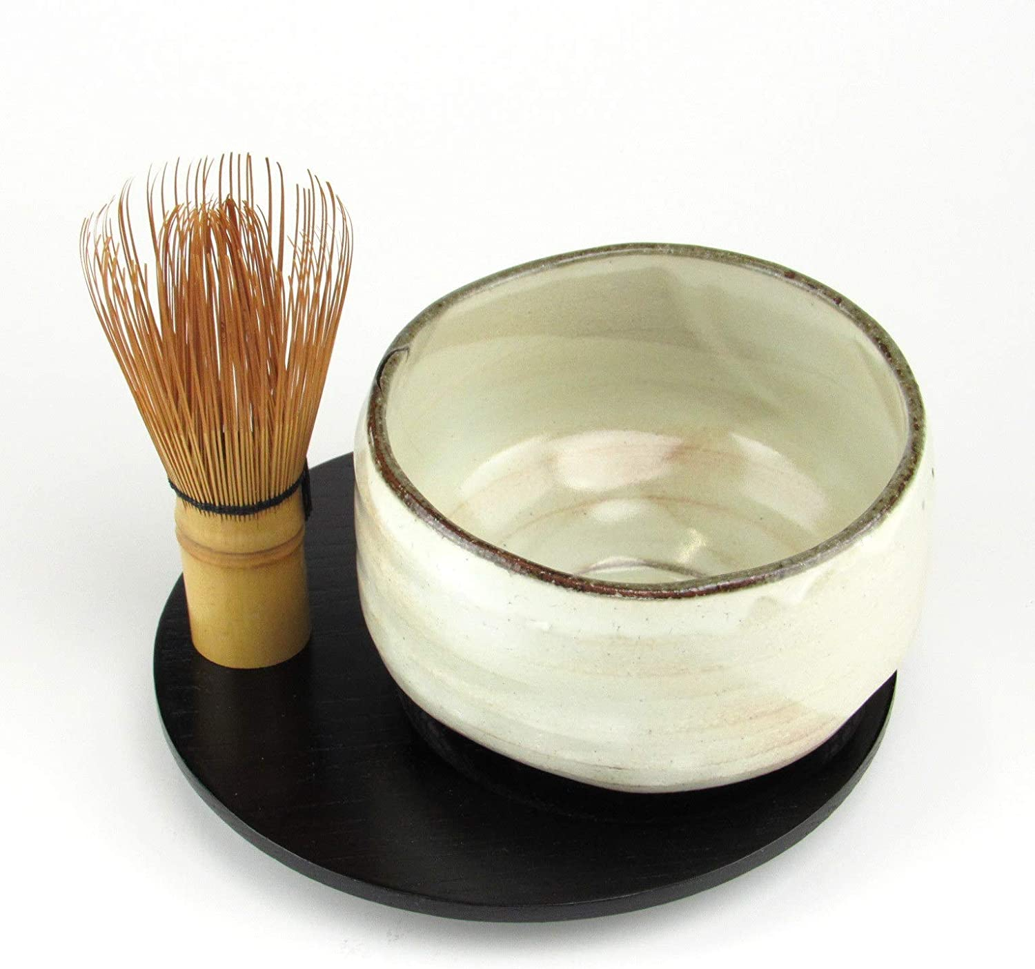 Handcrafted Porcelain Matcha Set Brown Chawan Green Tea Bowl Matcha Whisk and Spoon
