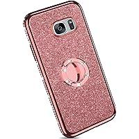 Ysimee kompatibel mit Samsung Galaxy S7 Hülle, Bling Schutzhülle Glänzend Weiche TPU Silikon HandyHülle Bumper Case mit Ring 360 Grad Ständer, Diamant Glitzer Case, Rose gold