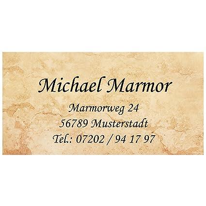 Visitenkarten Marmor Mit Ihrer Kompletten Adresse 54 Stück Ca 88 X 45 Mm