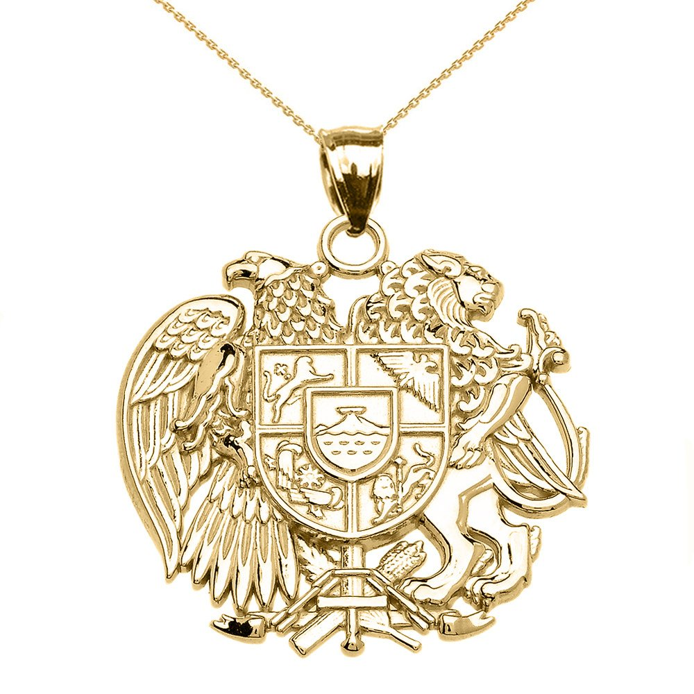 14k Yellow Gold Armenian National Coat Of Arms Eagle and Lion Pendant Necklace, 20''