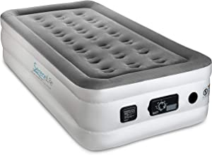 SereneLife Serene Life Built in ComfortCoil Technology & Internal High Capacity Pump | Elevated Raised Air Mattress Quilt Top 1-Year Guarantee Twin Size, Gray