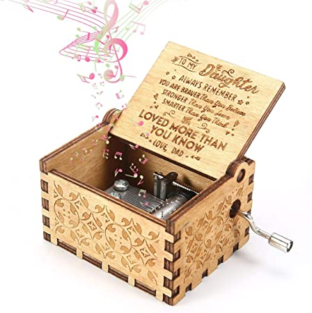 MOGOI Caja de Madera con manivela de Madera Tallada a Mano para niños, Regalos para niños, decoración del hogar, Manualidades, Juguetes: Amazon.es: Hogar