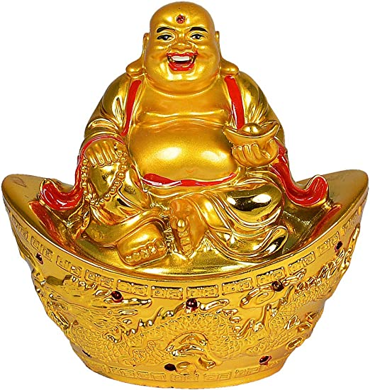 Best Gift 3 X 3 inches Feng-Shui Laughing Buddha With boats and coins
