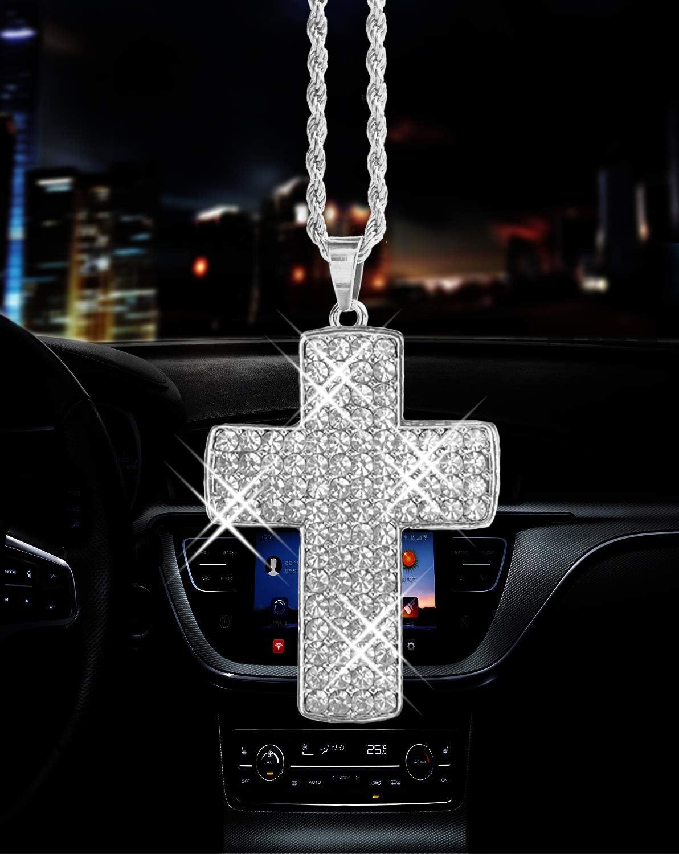 White Bling car men and women supplies car decor double-sided crystal diamond metal cross car rearview mirror pendant,Cute car interior decor accessories