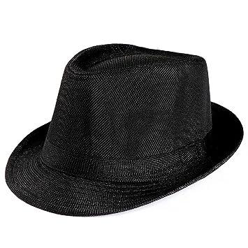 5b9f77e0b998ad Unisex Men Women Packable Fedora Trilby Straw Sun Beach Hats On Sale (Black)