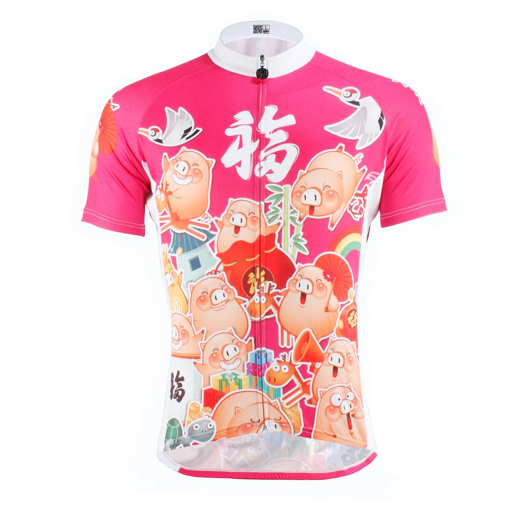 PaladinSport Cartoon Pigパターンレディースホワイト半袖サイクリングアパレル X-Large=US Size Medium 609-W-Short sleeve B01DS3HGZC
