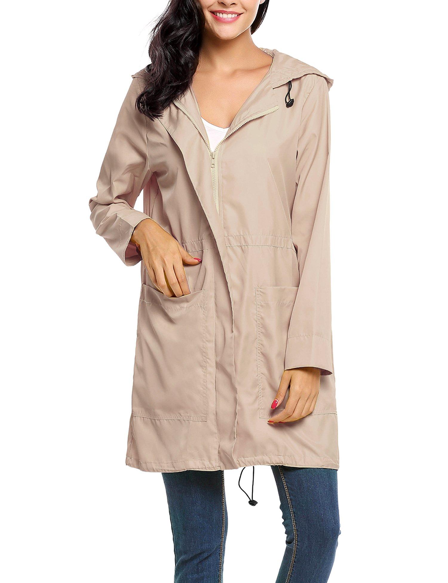 Avernon Fashionable Outdoor Lightweight Zipper Rain Coat for Women (Khaki, XXL)