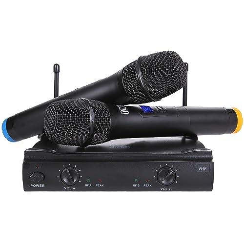 Tonor Microphone sans Fil Système VHF avec Deux Microphones à Main pour Haut-parleur Amplificateur de Réunion Karaoké Noir