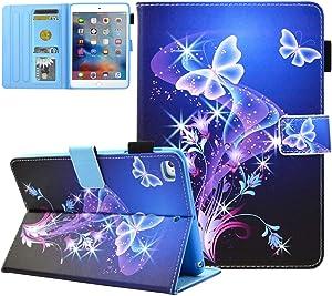 iPad Mini Case, iPad Mini 2/3 Case, iPad Mini 4 Case, iPad Mini 5 Case,JZCreater Folio Stand Wallet Case with Auto Sleep/Wake for Apple iPad Mini 1/2/3/4/5, Purple Butterfly