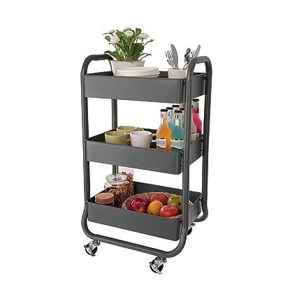 DESIGNA Metal Rolling Storage Cart 3 Tiers Utility Mobile Organization Cart with Handles Suitable for Office  sc 1 st  Amazon.com & Amazon.com : DESIGNA Metal Rolling Storage Cart 3 Tiers Utility ...