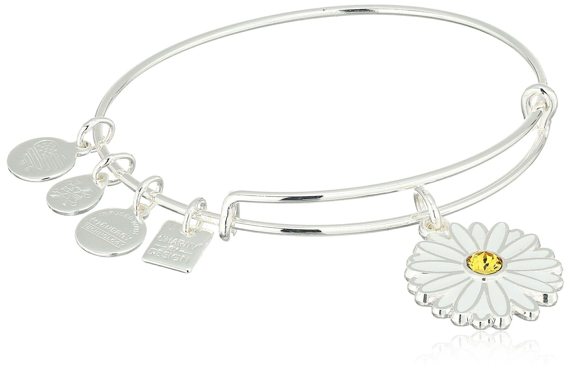 Alex and Ani Charity By Design, Daisy Shiny Silver Bangle Bracelet