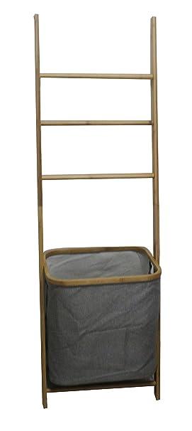 Bambú toallero + cesta mano Vara Escalera madera Cesto para toalla de mano: Amazon.es: Jardín