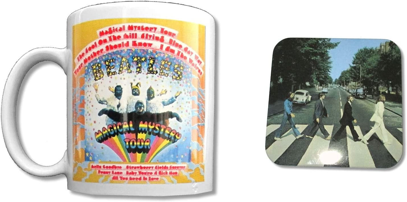 Beatles Magical Mystery White Ceramic Collectible Coffee Mug w/Coaster