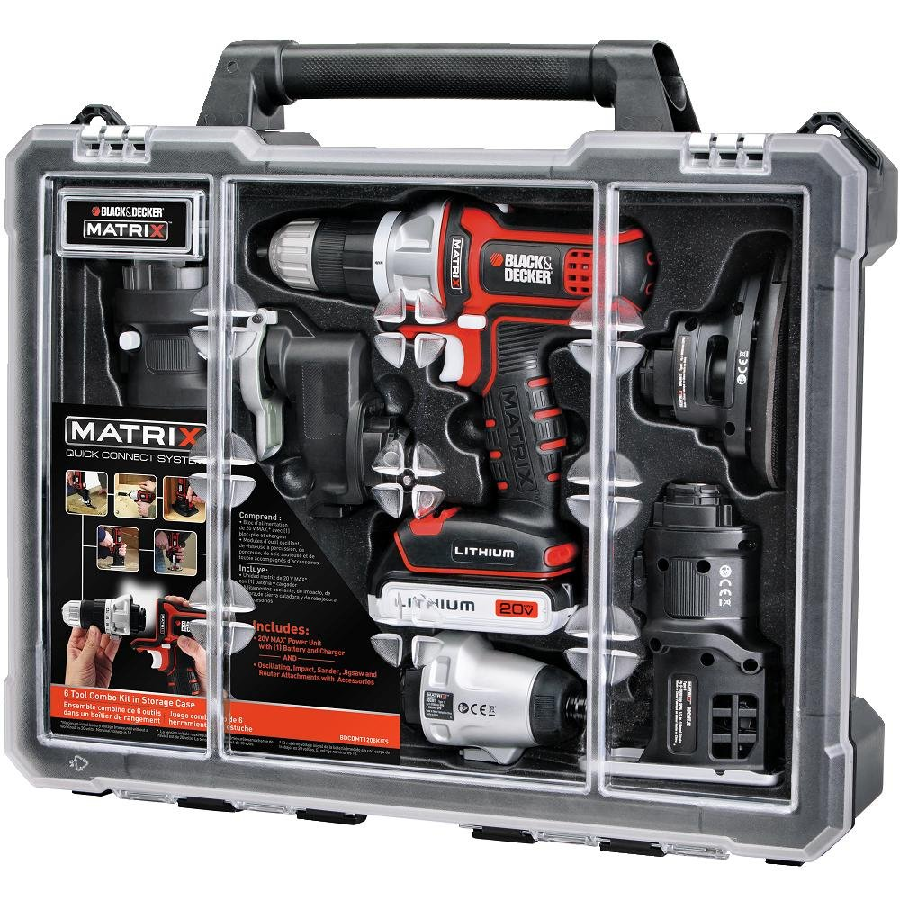 BLACK+DECKER Cordless Drill Combo Kit with Case, 6-Tool (BDCDMT1206KITC) by BLACK+DECKER