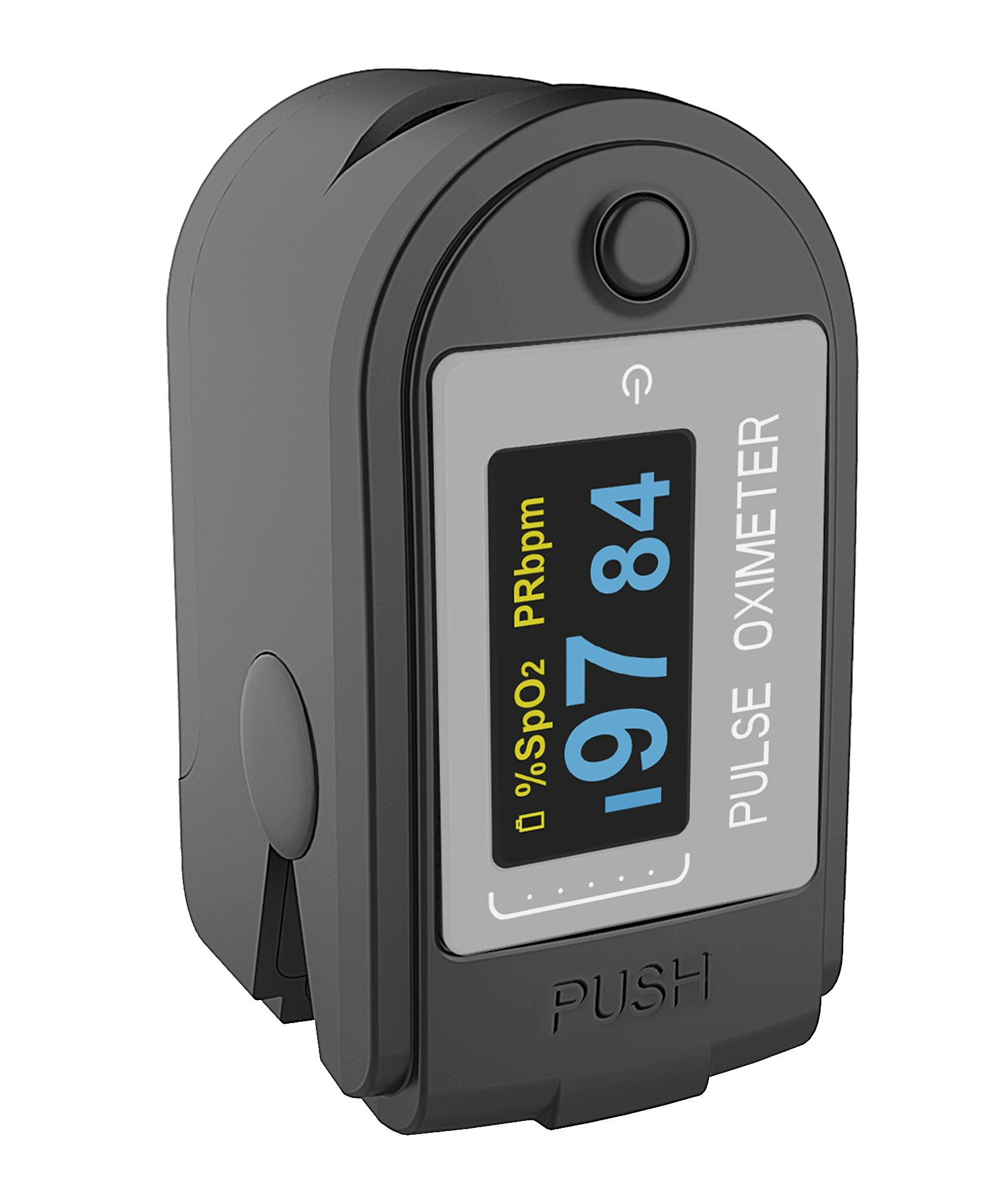 Concord Health Supply EAD Pro Bluetooth (iOS/Android) Fingertip Pulse Oximeter Monitor, Memory Stores SpO2 Data, Steps and Calories, with Silicon Cover, Carrying Case, Batteries and Lanyard