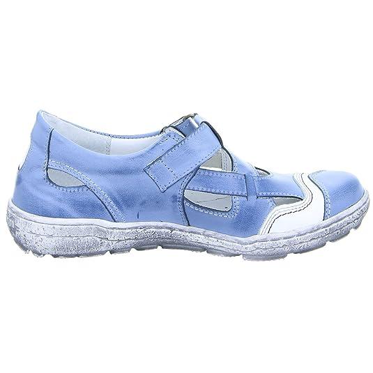 2034 Damen Sandale Leder Klettverschluss Weiß Blau (blue), Größe 36 Kristofer