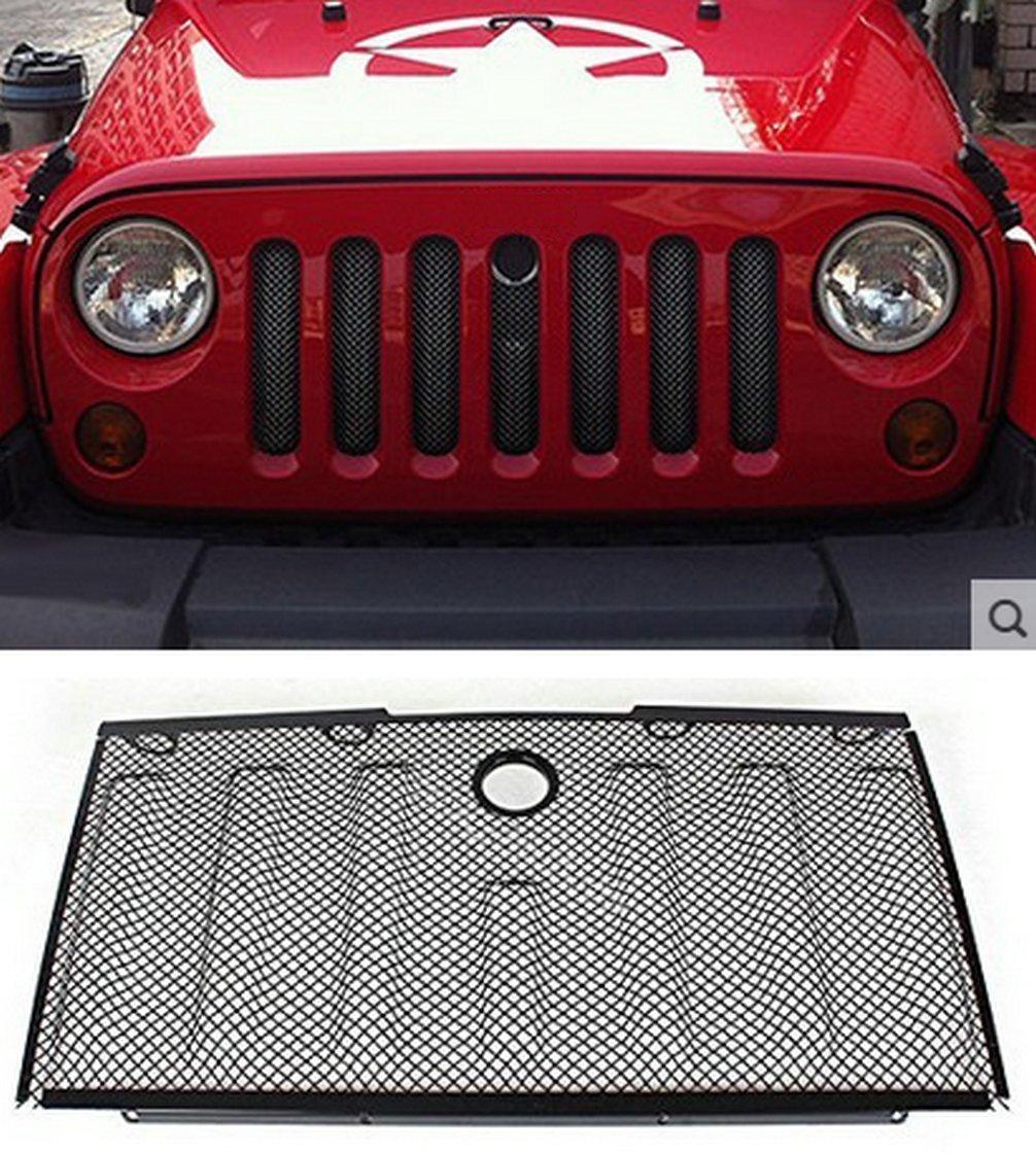 E-cowlboy Stainless Front Hood Grille Bug Screen 3D Mesh Grill Insert Black for Jeep Wrangler Rubicon Sahara Jk 2007-2015