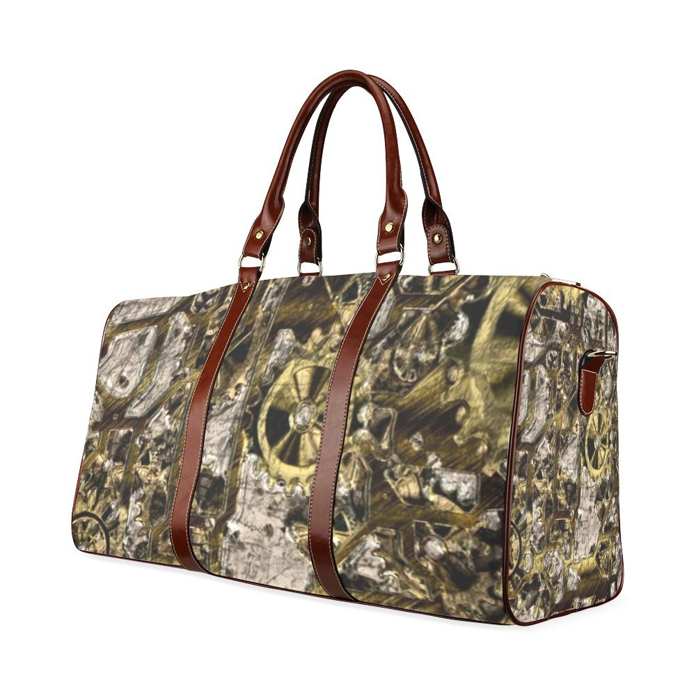 Metal Steampunk Custom Waterproof Travel Tote Bag Duffel Bag Crossbody Luggage handbag
