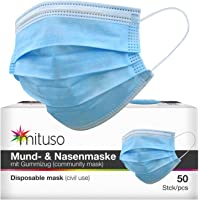 mituso Mond- en neusmasker, verpakking van 50 stuks, wegwerpmasker, 3-laags elastiek.