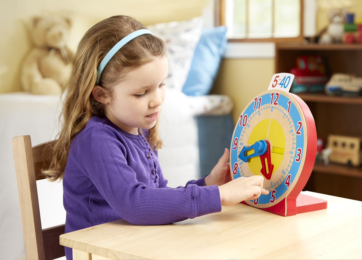 Educational Toy with 12 Melissa /& Doug Turn /& Tell Wooden Clock Reversible Time Cards