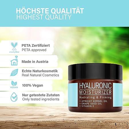 Crema Hidratante Facial de Ácido Hialurónico - COSMÉTICA NATURAL VEGANA con Aceite de Albaricoque y Vitamina E - 50ml hecho en Austria - Crema de Día para Hombre y Mujer