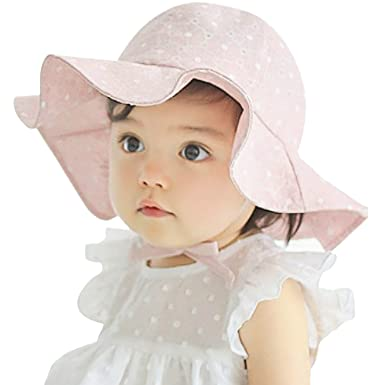 CHIC-CHIC Baby Toddler Girl Princess Wide Brim Sun Hat Polka Dot Floral  Summer Beach bdb59459f79