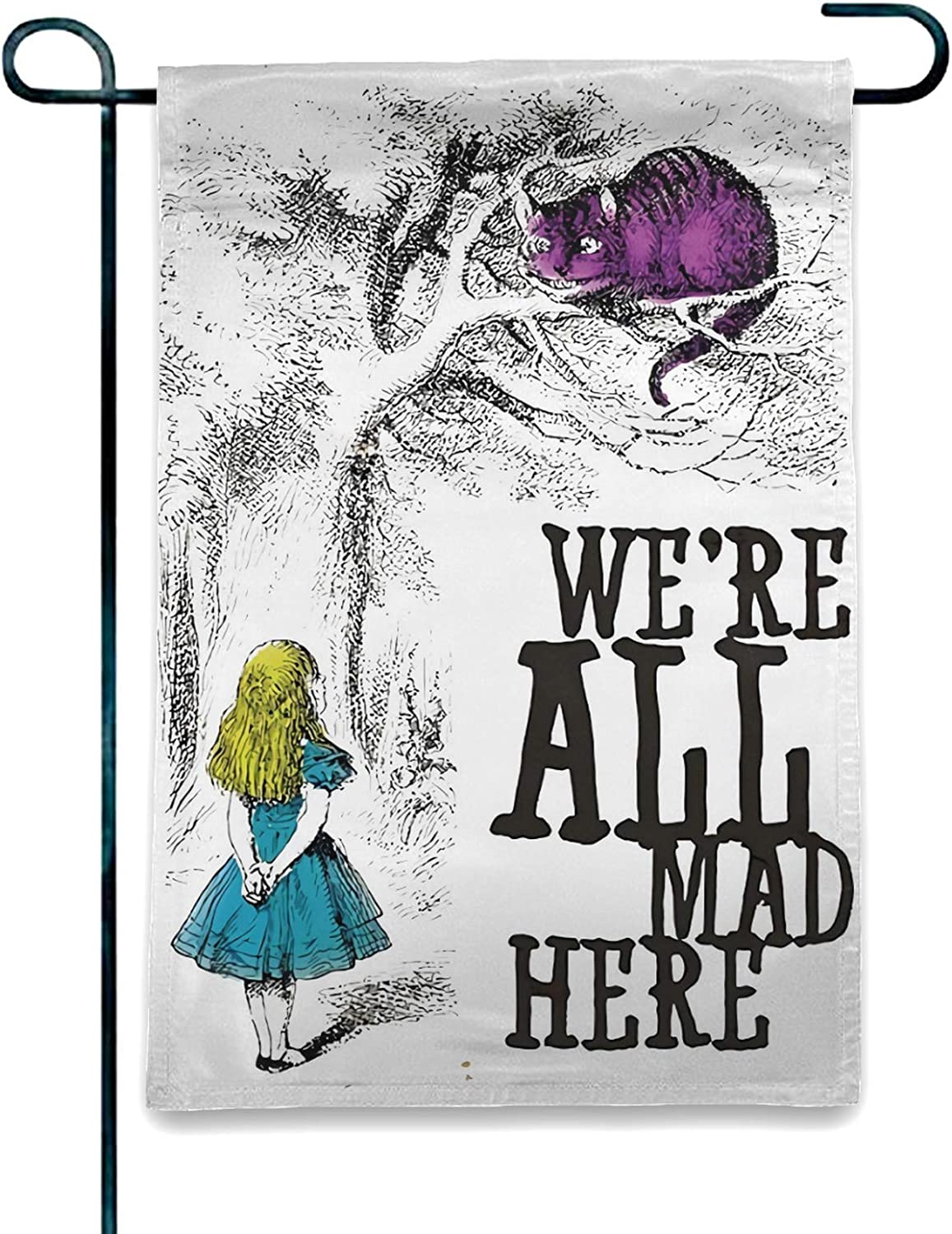 OAbear Alice in Wonderland Flag We Re All Mad Here Garden Flag Double Sided Garden Yard Decorations Flag 12.5 X 18 Inch