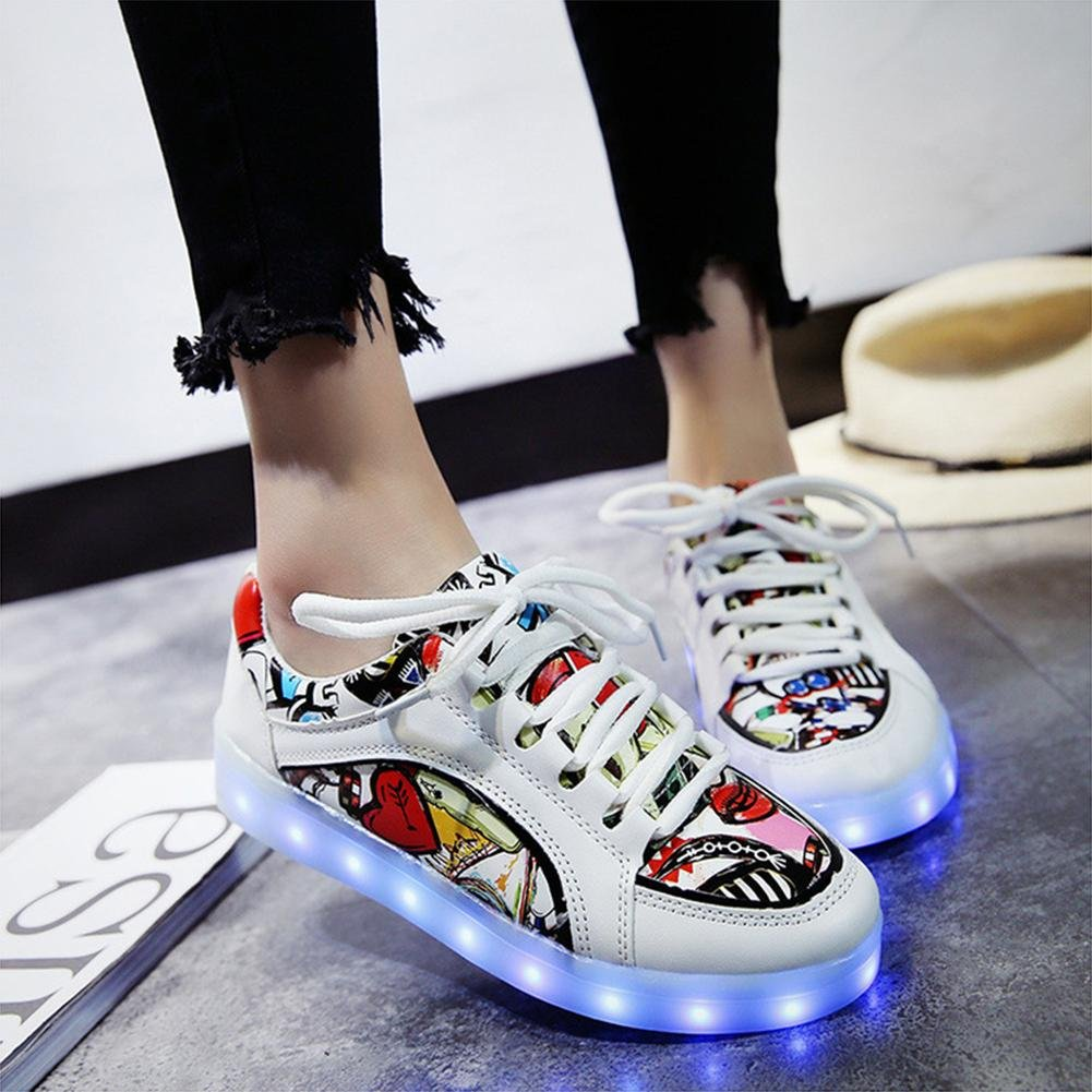 Jungen-Art und Weise LED-helle Schuhe beleuchtende beiläufige flache Schuhe sieben Farben ändern und elf Arten des blinkenden Modus , two , 42