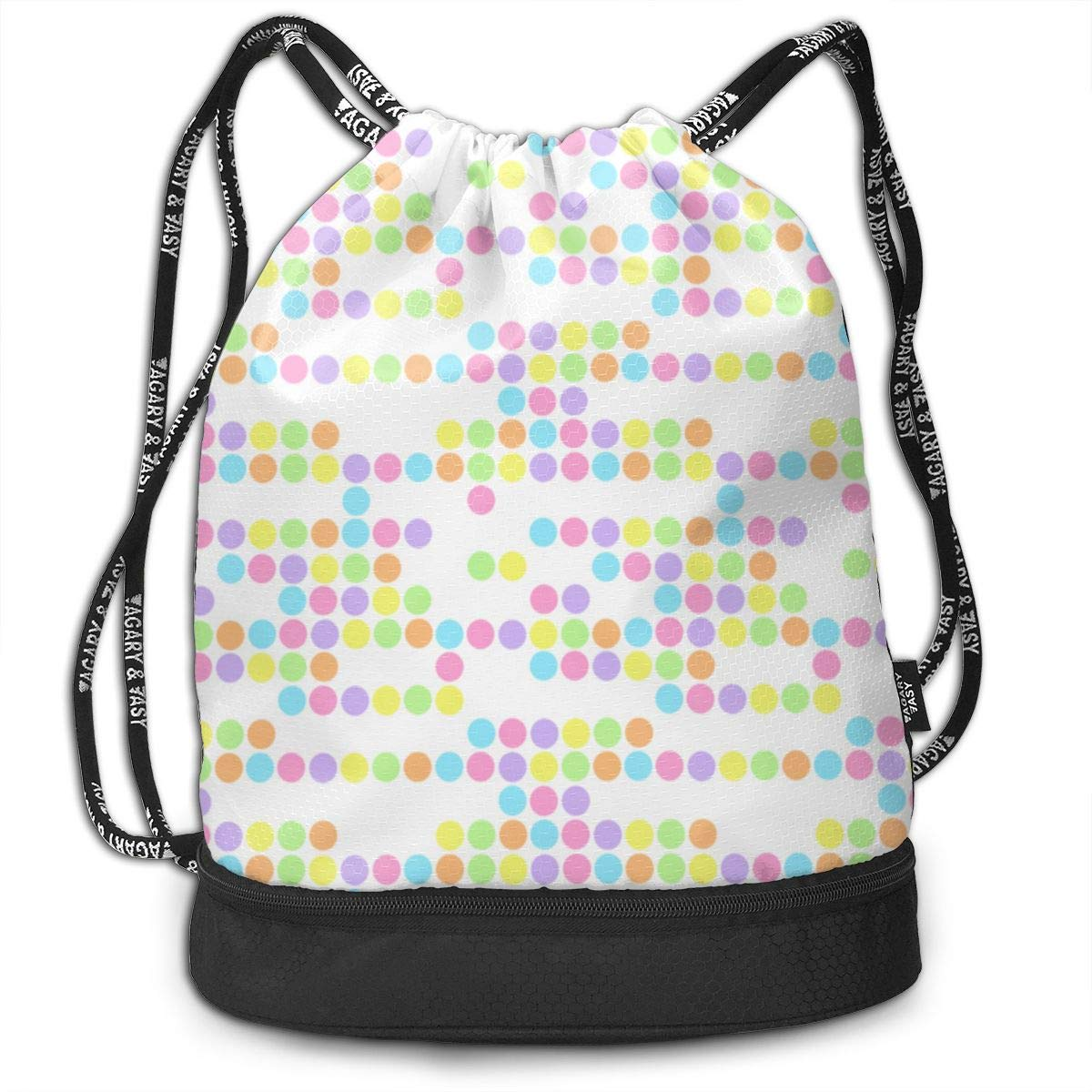 Baby Pastel Dots Pattern Drawstring Backpack Sports Athletic Gym Cinch Sack String Storage Bags for Hiking Travel Beach