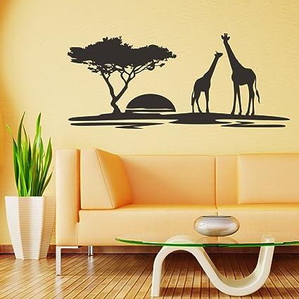 Amazon.com: V&C Designs African Safari Landscape Giraffe Scene Vinyl ...