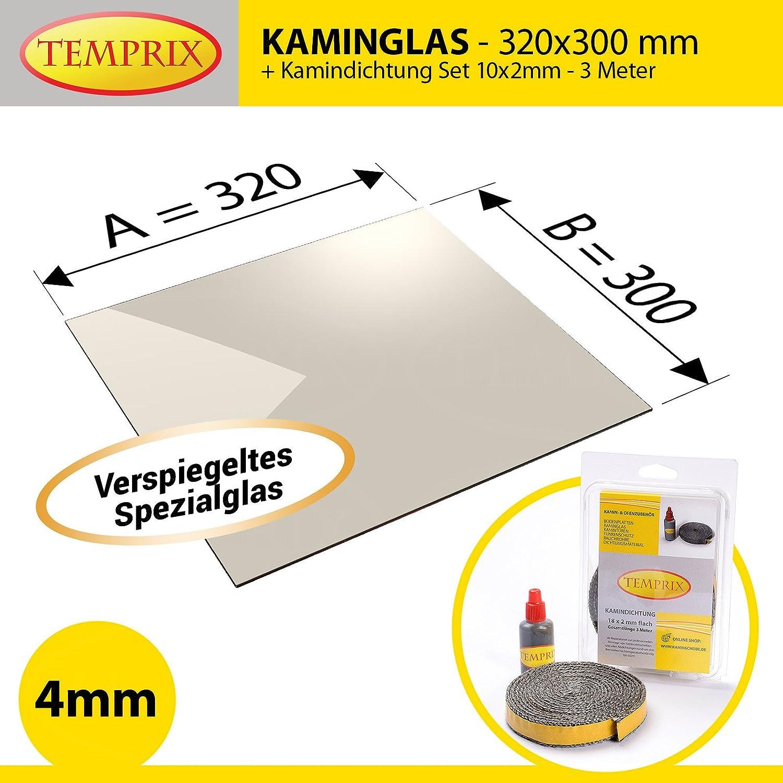 feuerfestes Glas f/ür Kamin /& Ofen Temprix Kaminglas /& Ofenglas Ofenscheibe /& Kaminscheibe 320 x 300 mm Temperaturbest/ändig bis 800/° C /» Wunschma/ße auf Anfrage /«