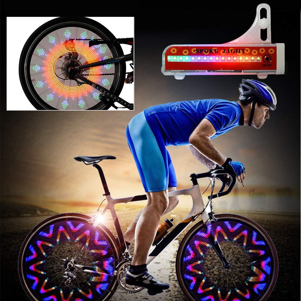 Impermeable Ne/ón LED Rayos Luz de Bicicleta el Sensor de Luz y el Sensor Actividades TIMESETL 2 PCS Led para Radios de Rueda para Bicicleta 32 Tipos Diferentes de Patrones