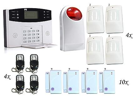 0f182f6442 ECTECH - Kit de sistema de alarma antirrobo GSM inalámbrico, sistema de seguridad  para el