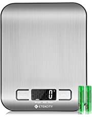 Etekcity Digital Kitchen Weighing Scales, Premium Stainless Steel Cooking Scales, Stylish Ultra Slim Design Food Scales, LCD Display, Compact Storage, Easy Clean, Silver