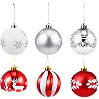 TOYANDONA 12pcs Christmas Ball Ornaments Plastic Christmas Ball Pendant Glitter Shatterproof Christmas Tree Balls…