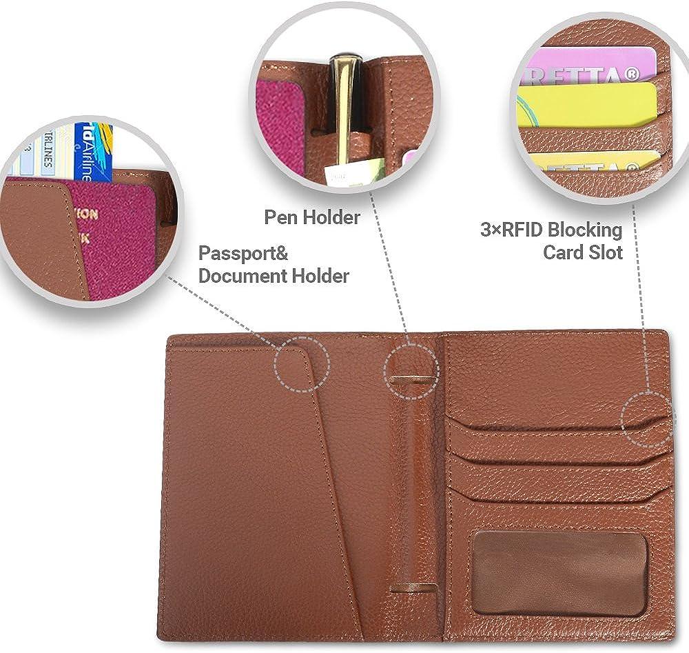 Genuine Leather RFID Blocking Travel Passport Wallet Case for Men and Women SHANSHUI Passport Holder