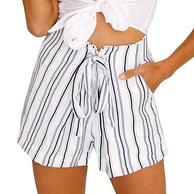 61dd80695eda5e ZARU Damen Streifen Shorts, Lose Freizeitshorts Chino Shorts Reizvolle Hot  Pants Sommer Lace-Up