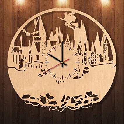 Amazon Com Hogwarts Harry Potter Eco Friendly Wood Wall Clock Get