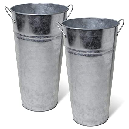 225 & Arbor Lane Rustic Metal Flower Vase -13 Inch - French Bucket - Farmhouse Style - Set of 2 (Silver)