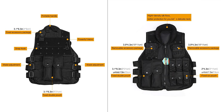 Pellor Outdoor Kids//Children Nylon Tactical Vest Security Guard Waistcoat CS Field Combat Training Protective Vest