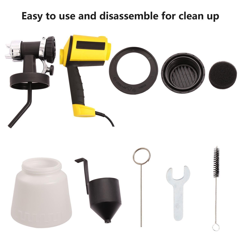 Car Electric Spray Gun 800ml/min Paint Sprayer with Three Spray Patterns, Three Copper Nozzles, Adjustable Valve Knob (Yellow) by Ferty (Image #3)