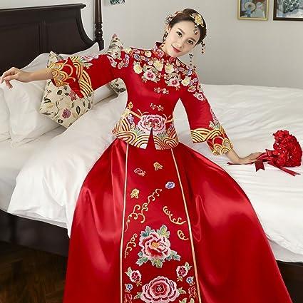 Xiu Wo Ropa Chino Vestido de Novia Rojo Largo Cheongsam Longfeng Chaqueta Novia Tostada de la