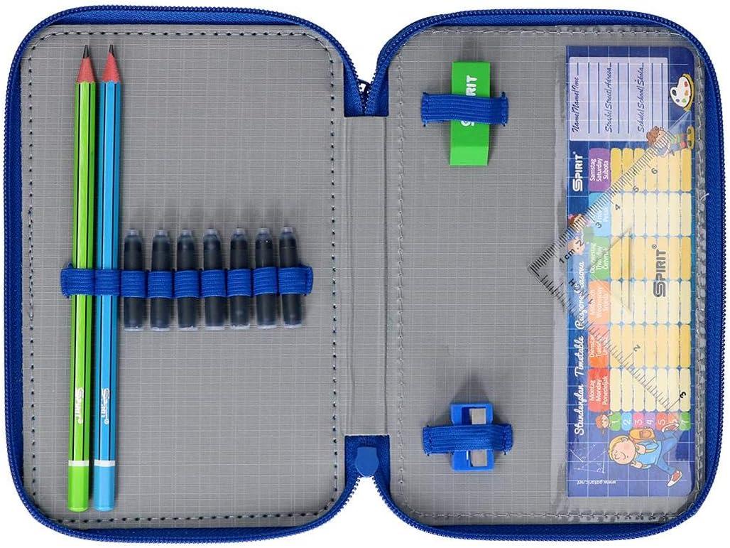 Color Azul Spirit Estuche Escolar con dise/ño de f/útbol