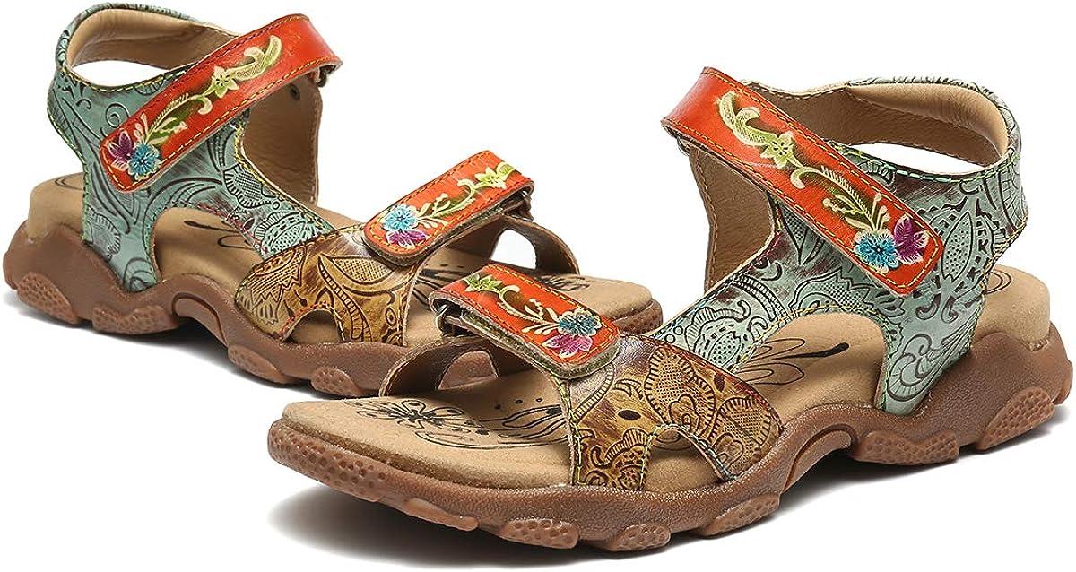 Camfosy Damen Leder Wandern Sandalen,Sommer Outdoor Handgefertigt Sandalen Flach Urlaub Freizeit Schuhe Verstellbare Klettverschluss Gem/ütliche Barfu/ß-Gef/ühl Wanderschuhe
